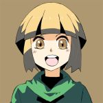 1girl :d bangs blunt_bangs blush bowl_cut brown_background capelet eyelashes facing_viewer gym_leader light_brown_eyes light_brown_hair looking_at_viewer lowres matsumoto_waka multicolored_hair natane_(pokemon) open_mouth pokemon pokemon_(game) pokemon_dppt short_hair sidelocks simple_background smile solo tareme teeth tongue turtleneck two-tone_hair upper_body