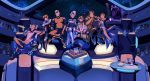 3d_glasses coran_(voltron) drinking_cup drinking_straw facial_hair food glasses highres hunk_(voltron) hyakujuu-ou_golion keith_(voltron) lance_(voltron) lychi mustache official_art pidge_gunderson pizza popcorn princess_allura sitting smile takashi_shirogane theater voltron:_legendary_defender