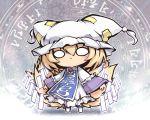 1girl :< blonde_hair chibi danmaku dress fox_tail frills hat kitsune mob_cap multiple_tails nekoguruma pillow_hat short_hair tail tassel touhou white_dress yakumo_ran