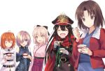 5girls :d ^_^ bangs bare_shoulders blush bow breasts cape closed_eyes company_connection demon_archer elbow_gloves fate/grand_order fate_(series) food fujimaru_ritsuka_(female) gloves hair_between_eyes hair_bow hair_over_one_eye hakama hat highres ice_cream jacket japanese_clothes kara_no_kyoukai kimono long_sleeves medium_breasts military military_hat military_uniform multiple_girls nonono nononon open_clothes open_jacket open_mouth parted_bangs parted_lips peaked_cap ryougi_shiki sakura_saber shielder_(fate/grand_order) short_hair side_ponytail sidelocks smile uniform upper_body