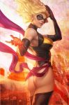 1girl america ass black_legwear blonde_hair blue_eyes breasts carol_danvers city domino_mask eyeshadow fire flag gloves large_breasts leotard long_hair looking_back makeup marvel mask md5_mismatch ms_marvel new_york parted_lips sash solo stanley_lau thigh-highs thong_leotard