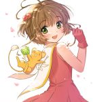 1girl :d antenna_hair brown_hair card_captor_sakura commentary_request dress eyebrows_visible_through_hair from_behind gloves green_eyes kero kinomoto_sakura looking_at_viewer looking_back magical_girl open_mouth petals short_hair sleeveless sleeveless_dress smile solo tsukada_nari upper_body wand