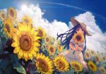 1girl bangs blue_hair blue_sky blunt_bangs brown_eyes clouds day dress field flower flower_field hat holding holding_flower long_hair looking_at_viewer original outdoors puffy_short_sleeves puffy_sleeves revision short_sleeves sky solo standing straw_hat sun_hat sundress sunflower white_dress yasumo_(kuusouorbital)
