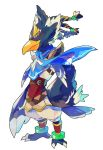 1boy barefoot beak blue_feathers braid claws full_body green_eyes looking_at_viewer male_focus revali rito scarf simple_background solo the_legend_of_zelda the_legend_of_zelda:_breath_of_the_wild white_background