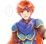 1boy armor blue_eyes blush fire_emblem fire_emblem:_fuuin_no_tsurugi gloves looking_at_viewer male_focus open_mouth redhead roy_(fire_emblem) short_hair simple_background smile solo wspread
