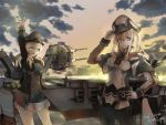 2girls adjusting_clothes adjusting_hat aircraft airplane anchor anchor_hair_ornament aqua_eyes black_gloves black_legwear black_ribbon black_skirt blonde_hair cannon capelet character_name clouds flight_deck gloves graf_zeppelin_(kantai_collection) hair_between_eyes hair_ornament hat highres iron_cross jacket kantai_collection long_hair low_twintails machinery microskirt military military_hat military_uniform miniskirt multiple_girls necktie ocean pantyhose peaked_cap prinz_eugen_(kantai_collection) ribbon sidelocks skirt suika_(azelf49386) suika_(pixiv) sun sunset turret twintails uniform water white_gloves