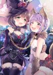 2girls :d animal_ears bdsm blue_eyes blush breasts brown_eyes brown_hair chains character_name chocho_(homelessfox) collar dog_collar dog_ears dog_tail dress elbow_gloves fur fur_trim gloves hair_flaps hat idolmaster idolmaster_cinderella_girls idolmaster_cinderella_girls_starlight_stage koshimizu_sachiko lace lace-trimmed_thighhighs leash looking_at_viewer multiple_girls name_tag nervous_smile open_mouth pet_play purple_hair sakuma_mayu short_hair smile tail thigh-highs witch_hat