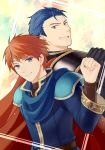 2boys armor back-to-back belt blue_cape blue_eyes blue_hair breasts cape clenched_hand clenched_hands clenched_teeth closed_mouth eliwood eliwood_(fire_emblem) fire_emblem fire_emblem:_rekka_no_ken fist_bump friends grin headband hector hector_(fire_emblem) highres kiyuu large_breasts looking_at_viewer looking_back male_focus multiple_boys neck nintendo red_cape redhead short_hair smile teeth tiara