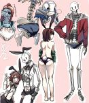 ass blue_skin brown_hair bunnysuit chara_(undertale) eyepatch frisk_(undertale) grin head_fins long_hair midriff monster_girl multiple_boys multiple_girls navel panties papyrus_(undertale) ponytail redhead short_hair shousan_(hno3syo) skeleton smile suspenders teeth undertale underwear undressing undyne