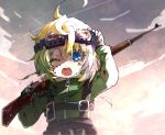 1girl ahoge assault_rifle bayonet black_gloves blonde_hair blood blood_on_face bloody_clothes blue_eyes commentary_request gloves goggles gun hair_between_eyes holding holding_gun holding_weapon karaage_(torikkk) light long_sleeves looking_at_viewer military military_uniform mondragon_rifle one_eye_closed open_mouth over_shoulder rifle short_hair sky solo tanya_degurechaff uniform weapon weapon_over_shoulder youjo_senki younger zipper