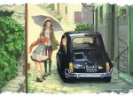 3girls black_legwear boots brown_eyes brown_hair car casual city cross-laced_footwear dated dress fiat_500 glasses ground_vehicle hair_ribbon hat headdress highres italy jacket kantai_collection libeccio_(kantai_collection) littorio_(kantai_collection) long_hair motor_vehicle multiple_girls open_mouth pantyhose pince-nez ribbon roma_(kantai_collection) shirt shoes short_hair skirt suika_(azelf49386) suika_(pixiv) title twintails umbrella wavy_hair