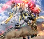barrel blue_sky claws commentary_request damaged dust dutch_angle glowing glowing_eyes gundam gundam_barbatos gundam_tekketsu_no_orphans hiropon_(tasogare_no_puu) light_trail mecha no_humans outdoors photo_background science_fiction sky solo sparks tail