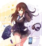 1girl bag beats_by_dr._dre blush brown_hair cardigan cellphone character_name digital_media_player duffel_bag earphones earphones green_eyes hatsune_miku headphones idolmaster idolmaster_cinderella_girls ipod ipod_shuffle jewelry kneehighs long_hair looking_at_viewer necklace necktie phone revision school_bag school_uniform shibuya_rin skirt smartphone solo un_s vocaloid