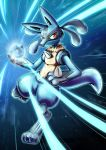 absurdres aura_sphere black_fur blue_fur furry highres lucario pokemon pokemon_(creature) pokemon_(game) pokemon_dppt red_eyes shigure yellow_fur