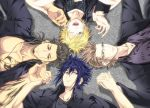 4boys beard black_hair blonde_hair blue_eyes blue_hair brown_eyes brown_hair circle_formation facial_hair final_fantasy final_fantasy_xv gladiolus_amicitia glasses green_eyes hand_holding highres ignis_scientia lying male_focus multiple_boys nae_(mzxt3557) noctis_lucis_caelum one_eye_closed prompto_argentum smile tattoo