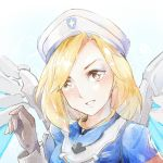 1girl alternate_hairstyle armband blonde_hair blush combat_medic_ziegler face gloves hat long_sleeves mechanical_wings mercy_(overwatch) mild_derp_face overwatch parted_lips solo upper_body wings yellow_eyes zrae