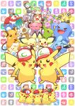 baseball_cap cosplay cubone hat hawlucha highres klefki larvitar meloetta meowth pichu pikachu pokemon pokemon_(anime) pokemon_(creature) raichu samsung_(yuzuikka) satoshi_(pokemon) satoshi_(pokemon)_(cosplay) snubbull sylveon togepi whismur wobbuffet wynaut