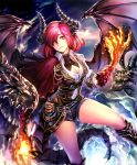 1girl artist_request belt boots breasts capelet claws cleavage clouds cygames dragon dragon_girl dragon_horns dragon_tail dragon_wings fire hair_over_one_eye horns jewelry looking_at_viewer medium_breasts mole mole_under_eye necklace official_art pointy_ears pouch redhead scales shadowverse shingeki_no_bahamut short_hair shorts sky_dragon_ethica smile tail wings yellow_eyes