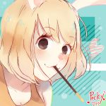 1girl :3 animal_ears black_eyes blonde_hair blush carrot_(one_piece) close-up dakoru food monster_girl multicolored multicolored_background one_piece pocky pocky_day rabbit_ears solo tank_top