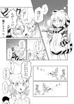 2girls :d animal_ears animal_hood animal_print bangs bare_legs bare_shoulders bow bowtie cat_ears cat_tail comic dot_nose extra_ears eyebrows_visible_through_hair geta greyscale hands_in_pockets high-waist_skirt highres hood hoodie kemono_friends koyoi_mitsuki long_sleeves monochrome multiple_girls open_mouth ribbon sand_cat_(kemono_friends) shirt short_hair skirt sleeveless sleeveless_shirt smile snake_tail speech_bubble striped_tail tail teeth text translation_request tsuchinoko_(kemono_friends) tunnel