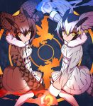 2girls bangs bird bird_tail black_hair blonde_hair blue_background breasts brown_coat brown_hair coat energy eurasian_eagle_owl_(kemono_friends) feather-trimmed_sleeves glowing_hands grey_coat grey_hair hair_between_eyes hair_wings hands_together highres kemono_friends kuri_dora light_trail long_sleeves looking_at_viewer multicolored_hair multiple_girls northern_white-faced_owl_(kemono_friends) orange_eyes owl patterned_background serious small_breasts streaked_hair white_hair yellow_eyes