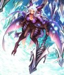 >:) 1girl armor armored_dress black_eyes black_pants breasts cleavage dragon_girl dragon_horns dragon_tail dragon_wings full_body gauntlets highres holding holding_weapon horns large_breasts long_hair masayoshi original pants pointy_ears polearm silver_hair solo spear tail weapon wings
