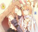 2girls animal_ears bangs bare_shoulders berserker_(granblue_fantasy) blonde_hair blush breasts cape cleavage djeeta_(granblue_fantasy) dual_persona fake_animal_ears fang gauntlets gradient gradient_background granblue_fantasy grin holding holding_weapon looking_at_another medium_breasts mikan-uji moneybag multiple_girls pelt rabbit_ears sage_(granblue_fantasy) short_hair simple_background smile spoken_money spoken_squiggle squiggle staff sweatdrop upper_body weapon yellow_eyes yen_sign