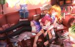 1boy 1girl abs asymmetrical_clothes bare_shoulders black_legwear blonde_hair blush book bookshelf boots coffee couch couple cup curtains fairy_tail happy_(fairy_tail) highres indoors inkwell lamp long_hair long_legs lucy_heartfilia natsu_dragneel open_mouth paper pink_hair reading revision scarf short_hair sleeping sunlight swordsouls thigh-highs