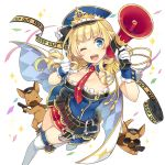 1girl amelie_mcgregor argyle blonde_hair blue_eyes boots braid breasts cape cleavage confetti dog epaulettes french_braid gloves gun handgun hat holding long_hair looking_at_viewer medium_breasts megaphone mmu necktie official_art one_eye_closed open_mouth peaked_cap pointing police police_dog police_hat police_uniform policewoman round_teeth skirt solo tape teeth thigh-highs thigh_boots transparent_background uchi_no_hime-sama_ga_ichiban_kawaii uniform weapon white_gloves white_legwear