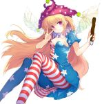 1girl abusoru american_flag_dress american_flag_legwear blonde_hair breasts cleavage clownpiece dress fairy_wings hat highres jester_cap long_hair looking_at_viewer neck_ruff pantyhose polka_dot short_dress sitting small_breasts solo star star_print striped torch touhou v very_long_hair violet_eyes wings