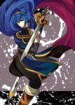 1boy armor blue_eyes blue_hair cape falchion_(fire_emblem) fire_emblem fire_emblem:_monshou_no_nazo gloves kudakeru looking_at_viewer male_focus marth solo sword tiara weapon