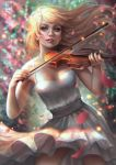 1girl abigail_diaz bare_shoulders blonde_hair blue_eyes blurry blurry_background bow_(instrument) breasts cherry_blossoms contrapposto dress flowing_hair holding_instrument instrument lips long_hair looking_at_viewer medium_breasts music nose parted_lips pink_lips playing_instrument sash sleeveless sleeveless_dress smile solo standing straight_hair violin white_dress