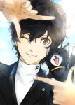 1boy animal black_cat black_hair blazer cat closed_eyes eyebrows_visible_through_hair eyelashes fangs finger_frame grey_eyes hair_between_eyes highres jacket kurusu_akira long_sleeves looking_at_viewer male_focus morgana_(persona_5) one_eye_closed persona persona_5 short_hair smile sweater turtleneck turtleneck_sweater whiskers