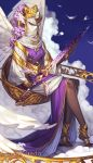 angel_wings artist_name blue_sky clouds dark_skin face_covered head_wings headwear_request holding holding_sword holding_weapon jewelry nail_polish noa_ikeda purple_hair purple_robe ring sitting sky sword tarot watermark weapon white_wings wide_sleeves wings yellow_nails
