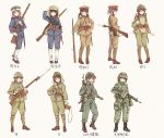 6+girls ankle_boots ankle_wraps arisaka assault_rifle battle_rifle bayonet black_hair bolt_action boots brown_eyes brown_hair camouflage combat_boots commentary contrapposto flak_jacket full_body gaiters gloves green_eyes gun hand_on_hip hat helmet highres howa_type_64 howa_type_89 imperial_japanese_army japan japan_ground_self-defense_force load_bearing_equipment long_hair longmei_er_de_tuzi looking_at_viewer military military_uniform multiple_girls number original peaked_cap pouch revision rifle short_ponytail sling smile soldier timeline translated twintails uniform weapon white_gloves world_war_ii