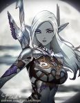 1girl armor artist_name belt blue_skin breasts clouds dark_elf elf eyebrows_visible_through_hair eyelashes gorget lineage lineage_2 lips long_hair looking_at_viewer medium_breasts moon navel parted_lips pink_lady_mage pointy_ears silver_hair solo under_boob upper_body violet_eyes