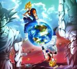 4boys abs arm_rest blonde_hair boots clouds cropped_vest dougi dragon_ball dragon_ball_z dragonball_z earth gloves gogeta green_eyes halo kim_yura_(goddess_mechanic) male_focus multiple_boys muscle rotational_symmetry signature sitting son_gokuu spiky_hair super_saiyan vegeta vegetto vest white_boots white_gloves wristband