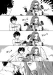 1boy 1girl blindfold breasts claws cleavage close-up comic fate/grand_order fate_(series) feeding fujimaru_ritsuka_(male) gorgon_(fate) greyscale hijiri large_breasts lips long_hair monochrome monster_girl one_eye_closed rider scales short_hair sigh snake very_long_hair wings