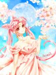 1girl bare_shoulders bishoujo_senshi_sailor_moon blue_background breasts cherry_blossoms chibi_usa cleavage closed_mouth collarbone cowboy_shot crescent double_bun dress earrings facial_mark forehead_mark full_moon hair_ornament hairpin jewelry long_hair looking_at_viewer medium_breasts moon older petals pink_dress pink_hair red_eyes shirataki_kaiseki signature small_lady_serenity smile solo twintails