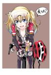 1girl :d bangs bicycle bicycle_helmet bike_jersey bike_shorts black_legwear blonde_hair blue_eyes blush breasts breasts_apart brown_background check_translation collarbone commentary_request cowboy_shot eyebrows_visible_through_hair fang fingerless_gloves giving gloves goggles goggles_on_head ground_vehicle hair_between_eyes headwear_removed helmet helmet_removed holding leggings light_blue_hair long_hair long_riders! long_sleeves looking_at_viewer multicolored_hair muraji open_clothes open_mouth riding saijou_hinako shorts shorts_under_skirt sidelocks simple_background skirt small_breasts smile solo sweat translated twintails two-tone_hair