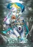 1girl armor armored_boots bear blonde_hair blue_eyes boots breasts cleavage company_name copyright_name full_body fur_trim green_eyes last_chronicle long_hair moreshan official_art open_mouth pointy_ears polar_bear ponytail rock solo teeth tree water