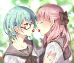 2girls bangs blue_eyes blurry blurry_background bow brown-framed_eyewear brown_bow cherry closed_eyes collarbone eyebrows_visible_through_hair food food_in_mouth fruit glasses green_hair hair_between_eyes hair_bow half_updo long_hair mouth_hold multiple_girls nekozuki_yuki original pink_hair school_uniform semi-rimless_glasses serafuku short_hair under-rim_glasses upper_body yuri