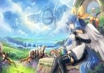 1girl asymmetrical_wings blue_hair blue_sky bow clouds commentary cubehero dizzy guilty_gear hair_bow long_hair outdoors red_eyes sitting sky solo squirrel tail tail_bow thigh-highs wings
