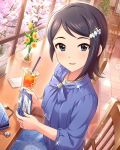 asymmetrical_hair blue_eyes blue_hair blue_shirt blue_skirt chair cherry_blossoms day desk drink floral_print flower game_console hair_ornament hairclip handheld_game_console holding idolmaster idolmaster_cinderella_girls idolmaster_dearly_stars indoors jewelry keychain mizutani_eri necklace official_art plant playstation_vita potted_plant shirt short_hair sitting skirt sparkle straw