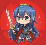 >:) 1girl armor belt blue_boots blue_cape blue_eyes blue_gloves blue_hair blush boots cape chibi closed_mouth elbow_gloves emblem falchion_(fire_emblem) fighting_stance fingerless_gloves fire_emblem fire_emblem:_kakusei full_body gloves hair_between_eyes holding holding_sword holding_weapon long_hair lucina magister_(medical_whiskey) red_background sheath short_sleeves shoulder_pads sleeve_cuffs smile solo sparkle standing super_smash_bros. sword symbol-shaped_pupils tareme thigh-highs thigh_boots tiara tunic unsheathed very_long_hair weapon