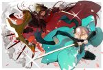 >:d 2girls :d armor armored_boots bangs black_bow black_legwear black_scarf blonde_hair boots bow cloak demon_archer fate_(series) floating_hair glint green_eyes hair_between_eyes hair_bow haori hat holding holding_sword holding_weapon japanese_clothes katana koha-ace long_hair looking_at_viewer military military_hat military_uniform multiple_girls nozaki_tsubata open_mouth outstretched_arm peaked_cap sakura_saber scarf shinsengumi short_hair smile sword teeth thigh-highs tongue uniform weapon