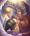 6+boys abs angel angel_and_devil angel_wings arm_wrestling artist_request blonde_hair bracelet cheering closed_eyes cygames demon demon_boy demon_horns demon_wings facial_mark fangs feathers fingernails forehead_mark grin halo horns jewelry manly multiple_boys muscle official_art pointy_ears shadowverse sharp_fingernails shingeki_no_bahamut smile solid_eyes sparkle sweat wings