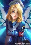 1girl armband artist_name belt_pouch blonde_hair blue_eyes blurry blurry_background breasts combat_medic_ziegler commentary cross_print freckles glowing glowing_wings hair_over_one_eye hat head_tilt light_particles lips logo looking_away looking_to_the_side mechanical_wings medium_breasts mercy_(overwatch) nudtawut_thongmai open_mouth overwatch pink_lips shiny shiny_clothes shiny_hair solo thick_eyebrows uniform upper_body watermark web_address white_hat wings