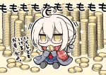 1girl ahoge angeltype bangs black-framed_eyewear black_legwear black_ribbon black_shoes blonde_hair blue_skirt blush_stickers braid chibi coat coin duffel_coat eyebrows_visible_through_hair fate/grand_order fate_(series) fringe full_body glasses gold grey_coat hair_between_eyes hair_ribbon hands_up heroine_x heroine_x_(alter) jitome long_sleeves neckerchief on_floor open_clothes open_coat outline pantyhose plaid plaid_scarf pleated_skirt pocket red_neckerchief red_scarf ribbon saber scarf school_uniform semi-rimless_glasses shiny shiny_clothes shiny_hair shoes short_hair sitting skirt solo translation_request under-rim_glasses yellow_eyes