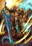 1boy armor armored_boots blonde_hair blue_eyes boots cape company_name copyright_name dragon full_body gloves male_focus moreshan official_art solo sword weapon z/x
